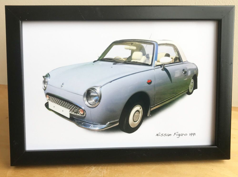 Nissan Figaro 1991 - 4x6in Photograph in Black, White or Silver coloured fr