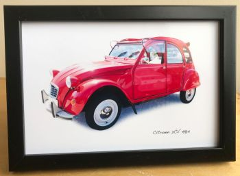 Citroen 2CV 1984 - Photograph (4x6in) in Black, White or Silver Coloured Frame - Free UK Delivery