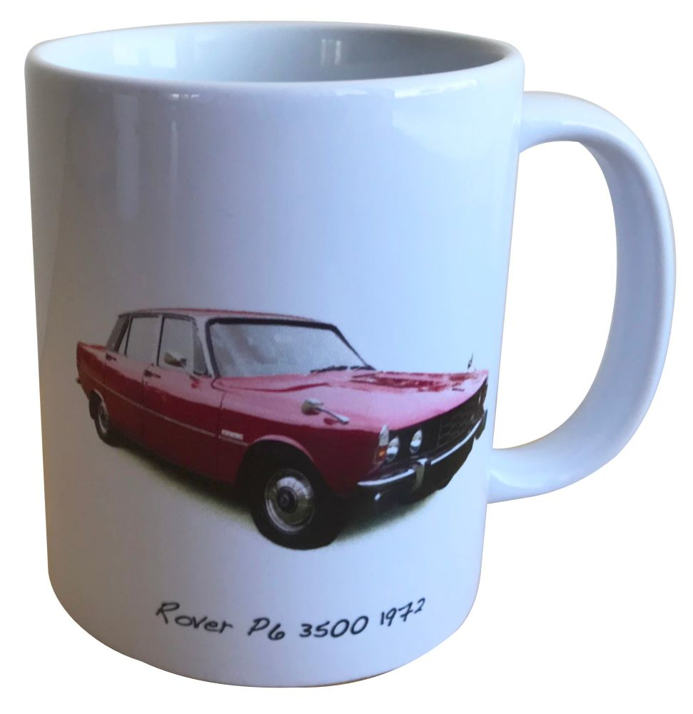 Rover 3500 P6 1972 (Red) -  11oz Ceramic Mug - Ideal Gift for 1970s Enthusi