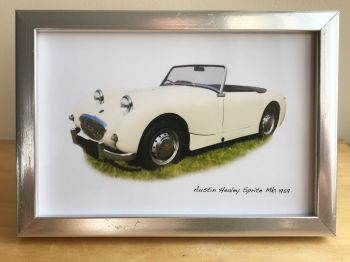 Austin Healey Sprite Mk1 1959 - Photograph (4x6in) in Black, White or Silver Coloured Frame - Free UK Delivery