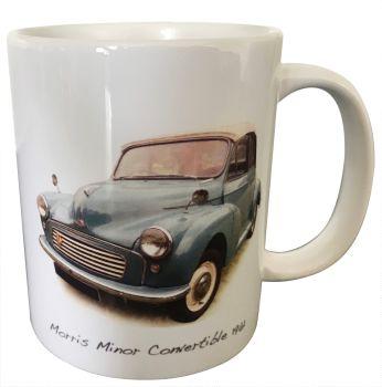 Morris Minor Convertible 1961 (Pale Blue)  - 11oz Ceramic Mug - Ideal Present