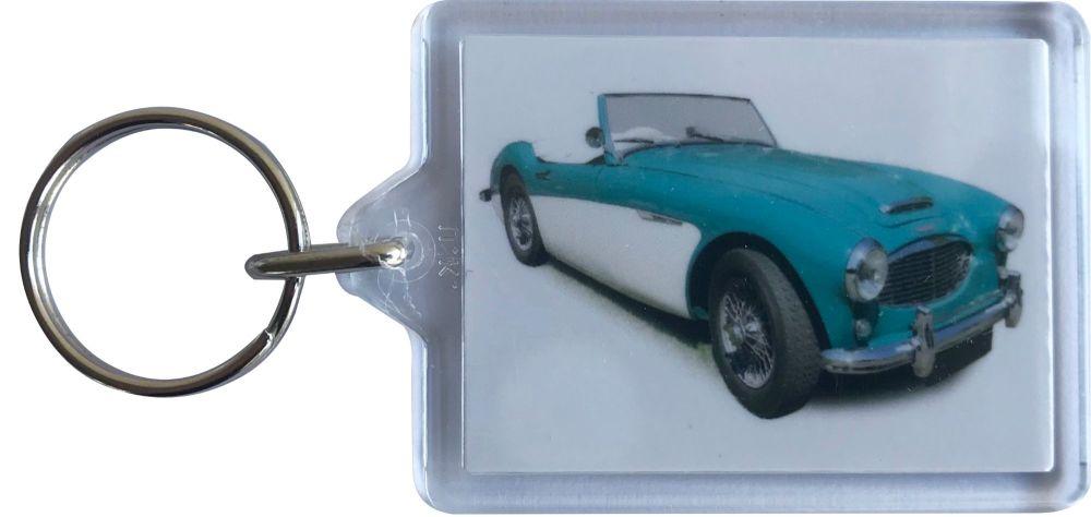Austin Healey 3000 1959 - Plastic Keyring with 35 x 50mm Insert - Free UK D