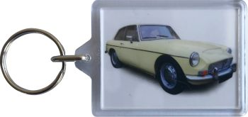 MG C GT 1970 - Plastic Keyring with 35 x 50mm Insert - Free UK Delivery