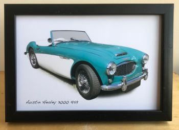 Austin Healey 3000 1959 - Photograph (4x6in) in Black, White or Silver Coloured Frame - Free UK Delivery