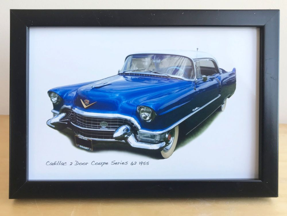 Cadillac 2 Door Coupe Series 62 1955 - Photograph (4x6in) in Black, White o