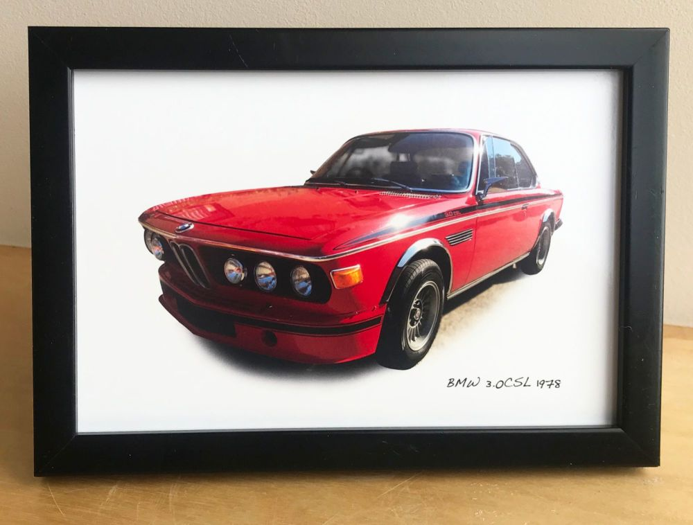 BMW 3.0CSL 1973 - Photograph (4x6in) in Black, White or Silver Coloured Fra