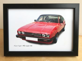 Ford Capri Mk3 1600 1981 - Photograph (4x6in) in Black, White or Silver Coloured Frame - Free UK Delivery