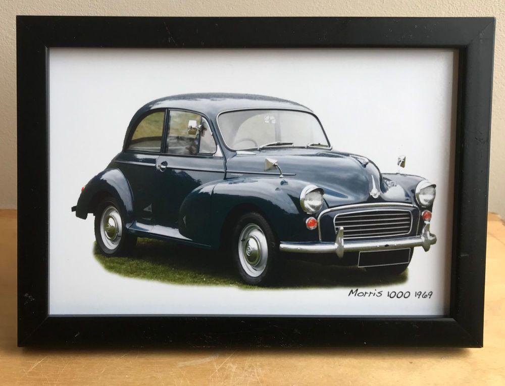 Morris Minor 1000 1969 (Dark Blue) -  Photograph (4x6in) in Black, White or