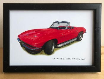 Chevrolet Corvette Stingray 1966 - Photograph (4x6in) in Black, White or Silver Coloured Frame - Free UK Delivery