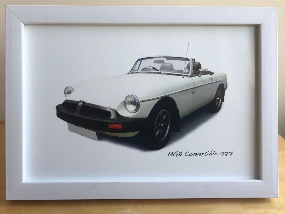 MGB Convertible 1977 - Photograph (4x6in) in Black, White or Silver Coloure