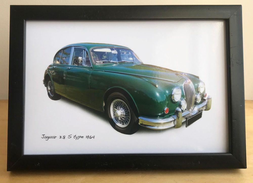 Jaguar 3.8 S Type 1964 - Photograph (4x6in) in Black, White or Silver Colou