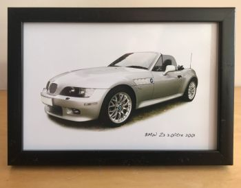 BMW Z3 2001 - Photograph (4x6in) in Black, White or Silver Coloured Frame - Free UK Delivery
