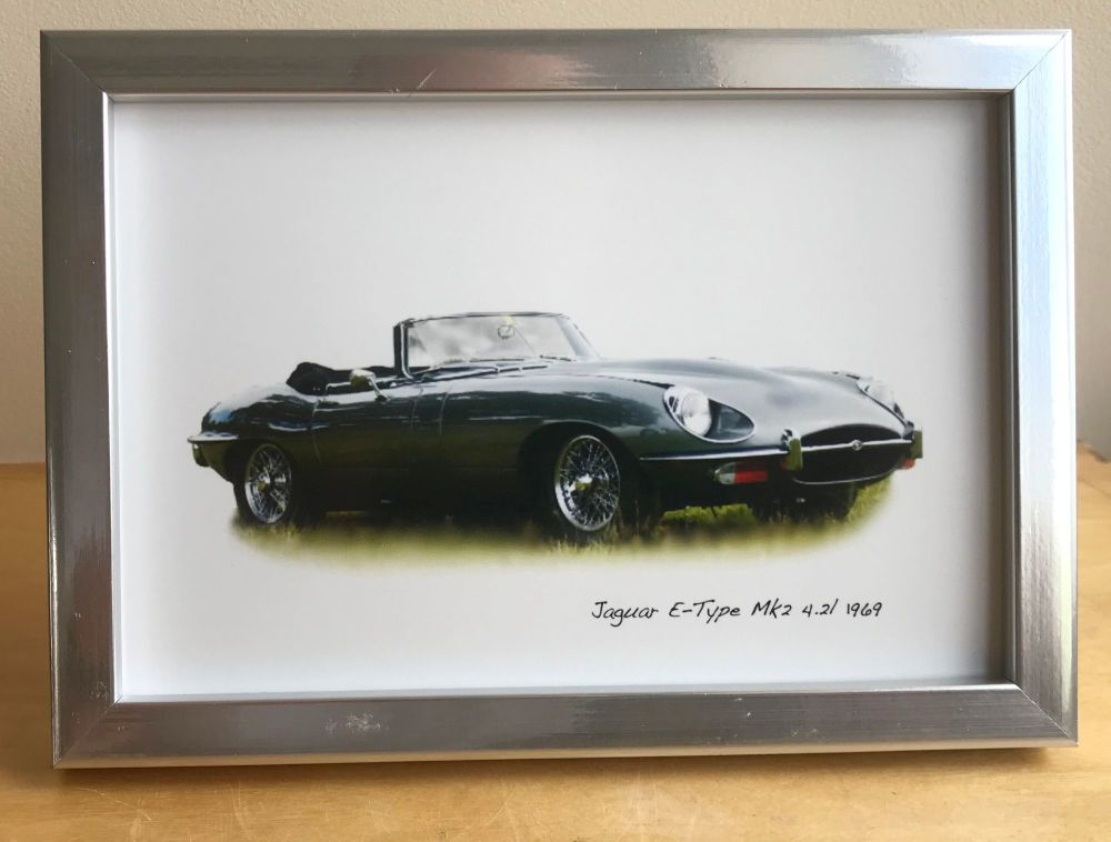 Jaguar E-Type Mk 2 1969 - Photo (4x6in) in either a White, Black or Silver
