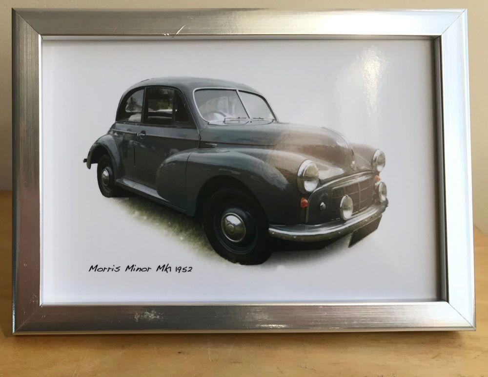 Morris Minor Mk1 1952 - Photograph (4x6in) in Black, White or Silver Colour
