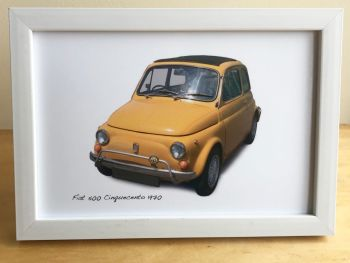Fiat 500 Cinquecento 1970 - Photograph (4x6in) in Black, White or Silver Coloured Frame - Free UK Delivery