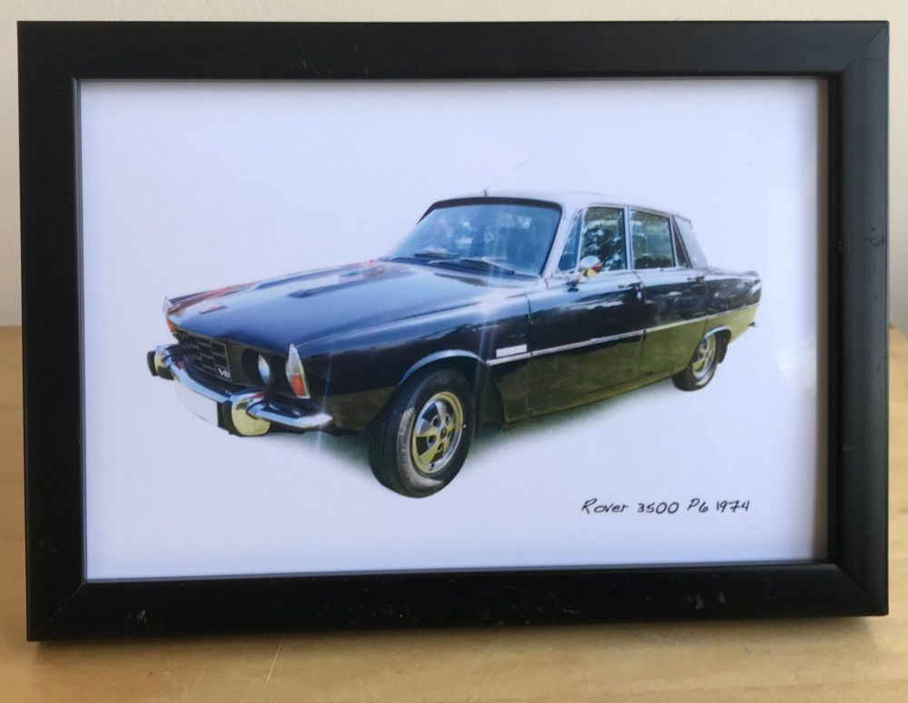 Rover 3500 P6 1974 (Black) - Photograph (4x6in) in either a Black, White or