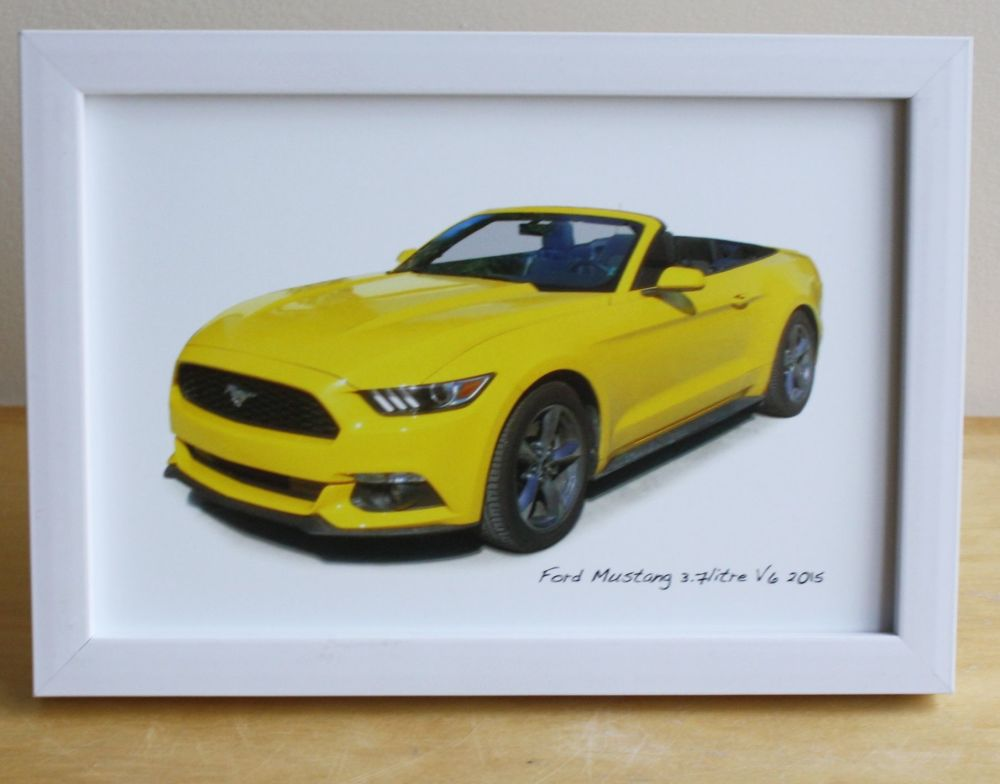 Ford Mustang 3.7l V6 Convertible 2015  - Photograph (4x6in) in Black, White