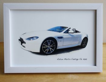 Aston Martin Vantage V8 2010 - Photograph (4x6in) in Black, White or Silver Coloured Frame - Free UK Delivery