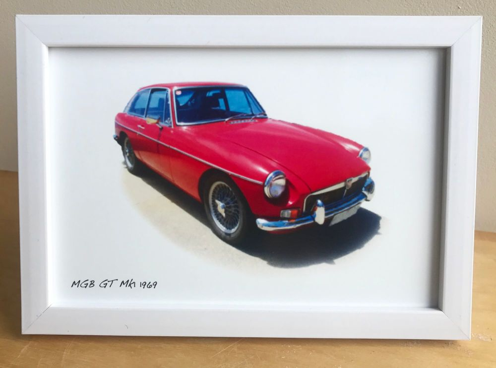 MGB GT 1969 (Red) -  Photo (4x6in) in a Black, White or Silver coloured fra