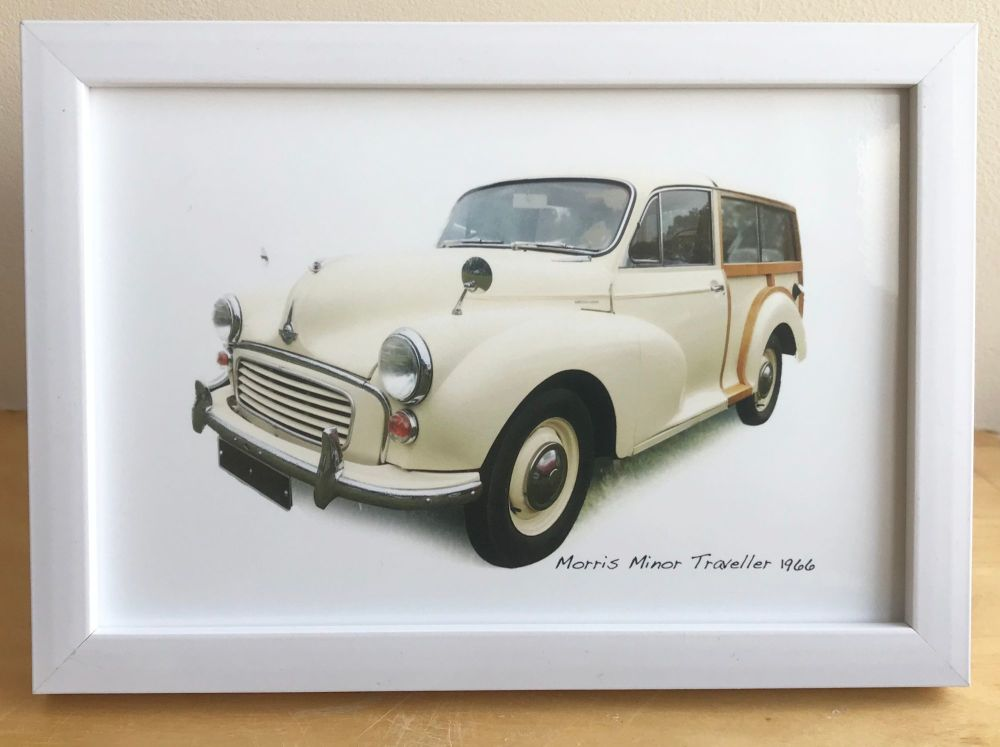 Morris Minor Traveller 1966  (Cream) - Photograph (4x6in) in Black, White o