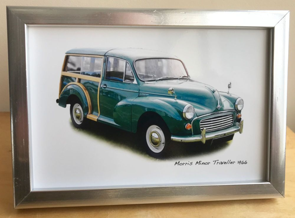 Morris Minor Traveller 1966  (Green) - Photograph (4x6in) in Black, White o