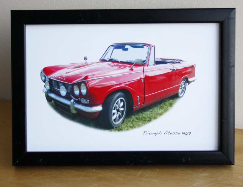 Triumph Vitesse Convertible 1967- Photograph (4x6in) in Black, White or Sil