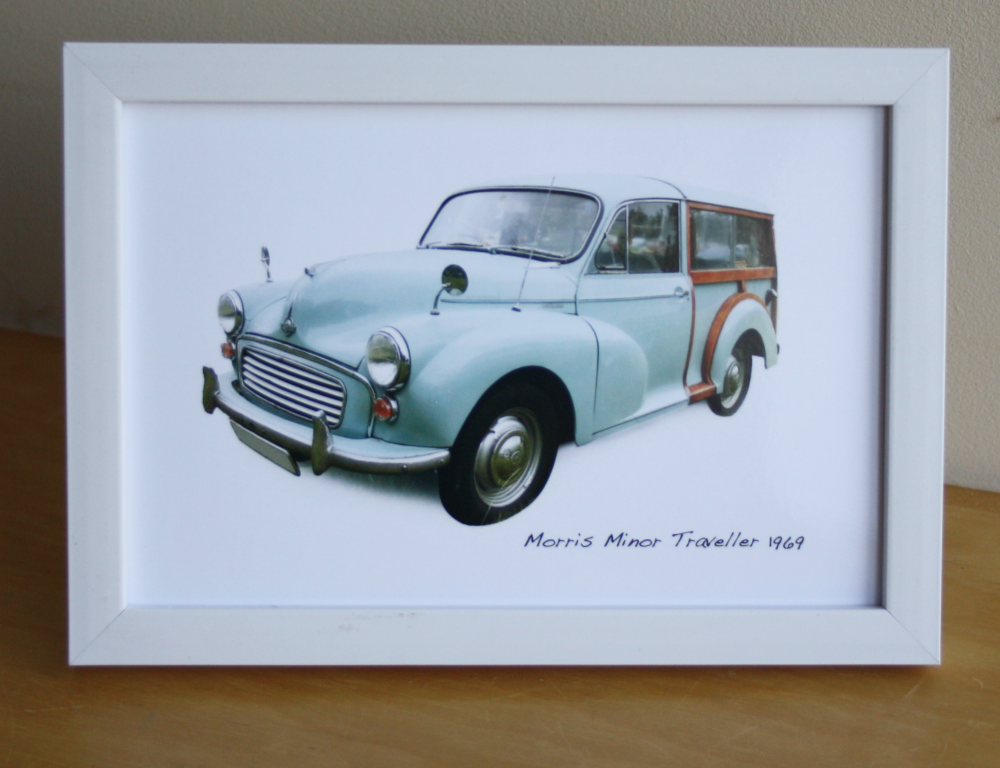 Morris Minor Traveller 1969 (Pale Blue) - Photograph (4x6in) in Black, Whit