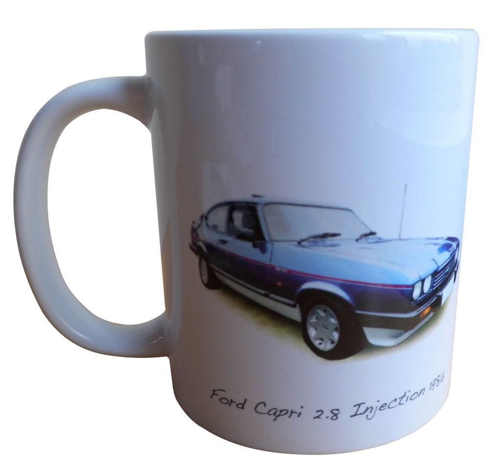 Ford Capri 2.8i 1986 (Blue) -  Ceramic Mug - Ideal Gift for the Car Enthusi