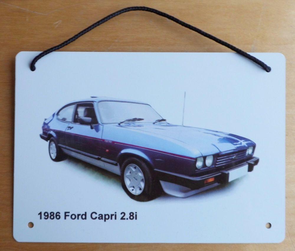 Ford Capri 2.8i 1986 (Blue) - Aluminium Plaque A5 (148 x 210mm) - Gift for