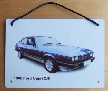 Ford Capri 2.8i 1986 (Blue) - Aluminium Plaque A5 (148 x 210mm) - Gift for the Ford fanatic