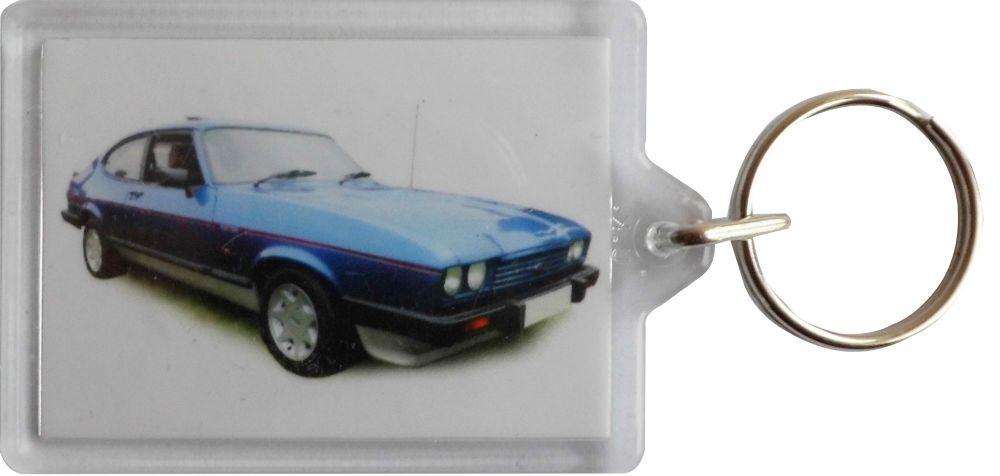 Ford Capri 2.8i 1986 (Blue)- Plastic Keyring with 35 x 50mm Insert - Free U