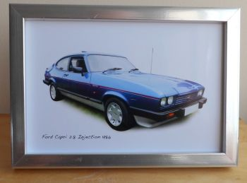 Ford Capri 2.8 Injection 1986 (Blue)- Photograph (4x6in) in Black, White or Silver Coloured Frame - Free UK Delivery