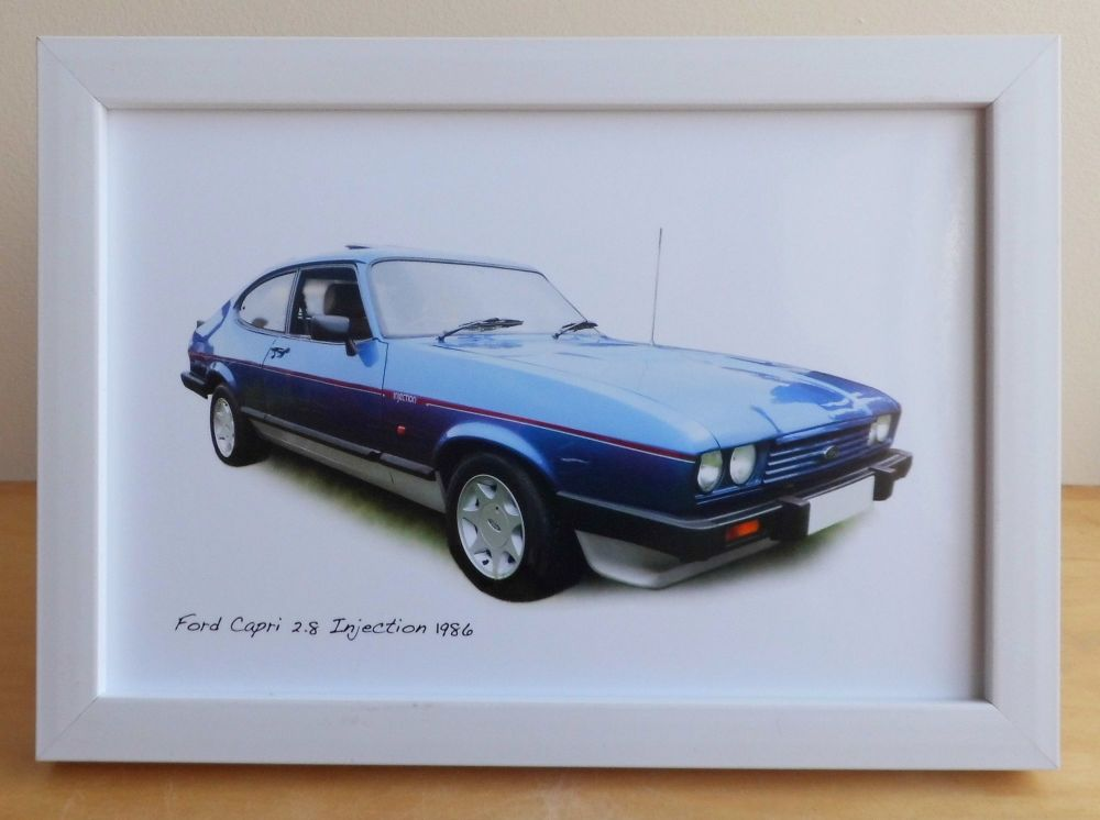 Ford Capri 2.8 Injection 1986 (Blue)- Photograph (4x6in) in Black, White or