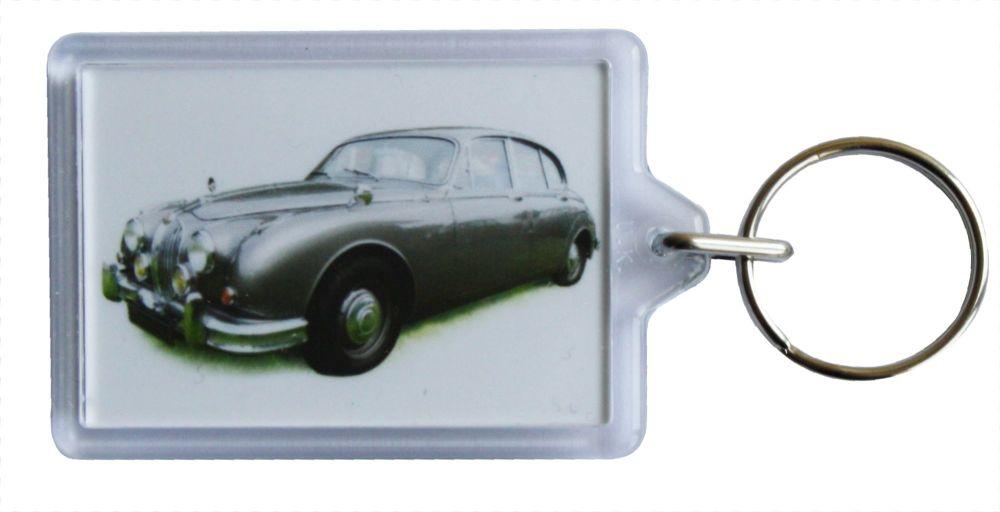 Jaguar Mk2 2.4 1962 - Plastic Keyring with 35 x 50mm Insert - Free UK Deliv