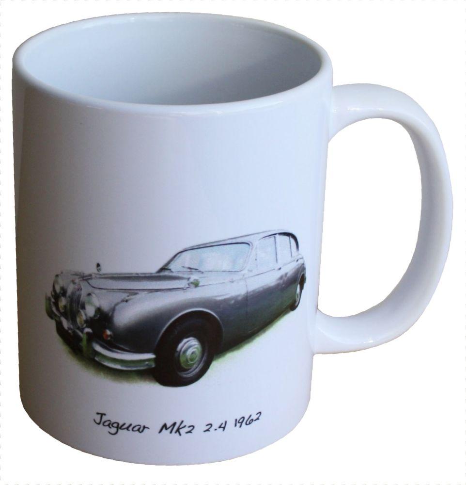 Jaguar Mk2 2.4 1962 - Ceramic Mug - Ideal Gift for the Car Enthusiast - Fre