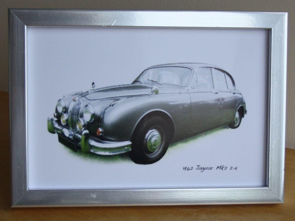Jaguar Mk2 2.4 1962 (Grey) - Photograph (4x6in) in Black, White or Silver C