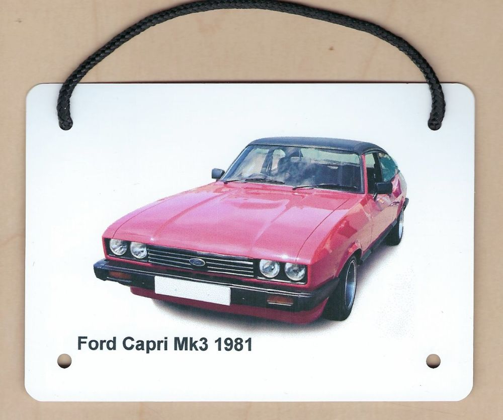 Ford Capri Mk3 1981 - Aluminium Plaque (A6, A5 or 200x300mm) - Present for