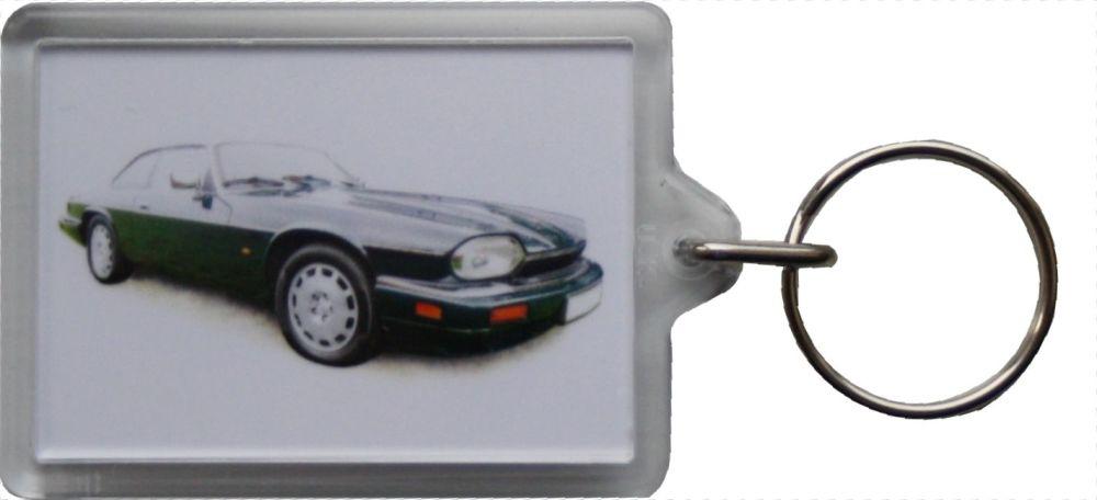 Jaguar XJS 4.0 1995 (Dark Green) - Plastic Keyring with 35 x 50mm Insert -