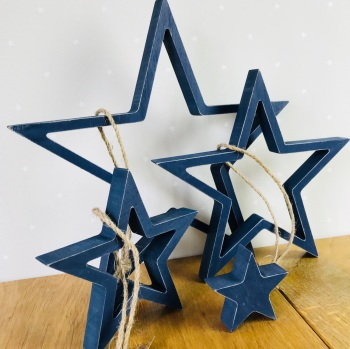 East of India - Wooden Hanging Star Set - Blue