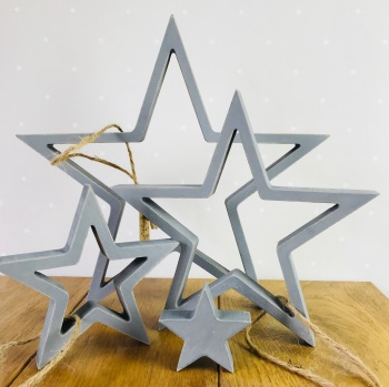 Easter of India - Wooden Hanging Star Set - Grey