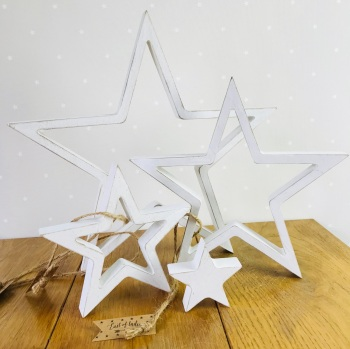 East of India - Wooden Hanging Star Set - White
