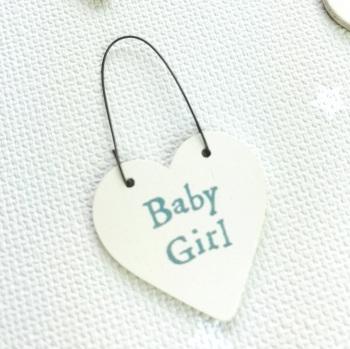 East of India - Teeny Tiny Wooden Heart - New Baby Girl