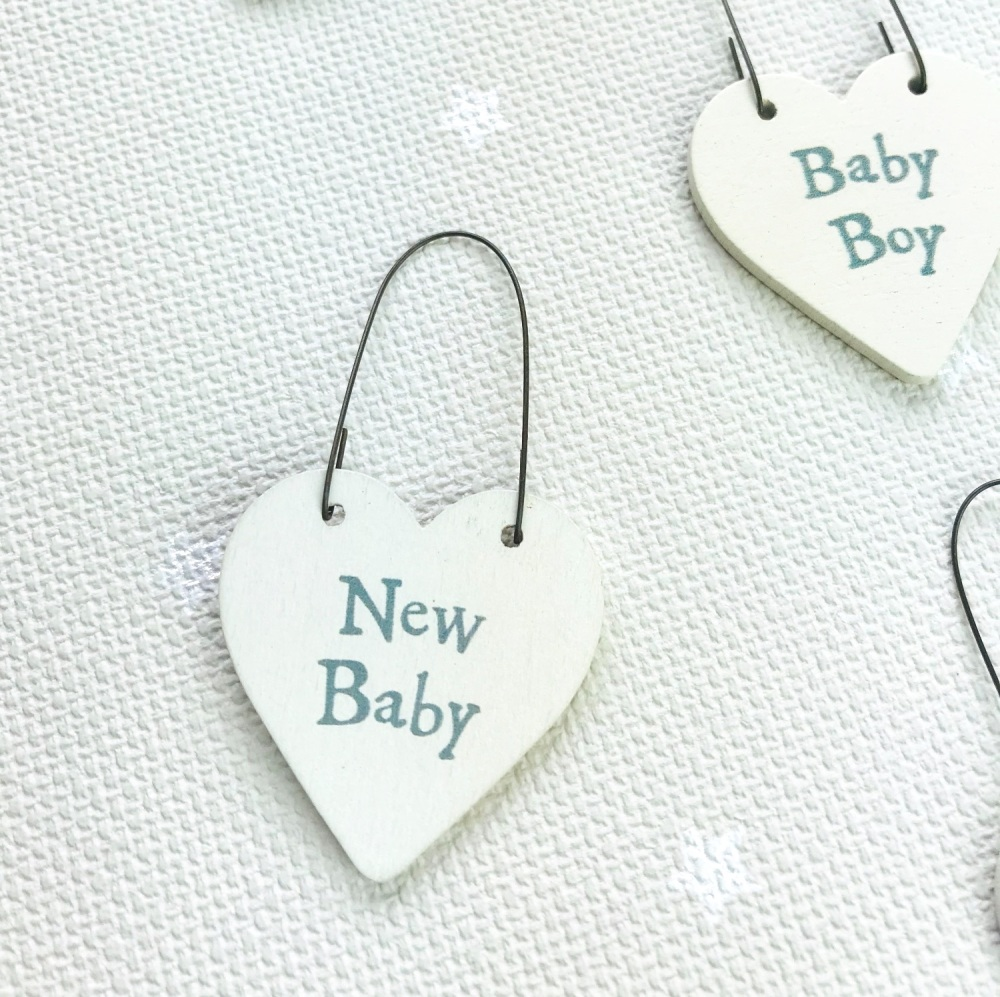 East of India - Teeny Tiny Wooden Heart - New Baby Boy