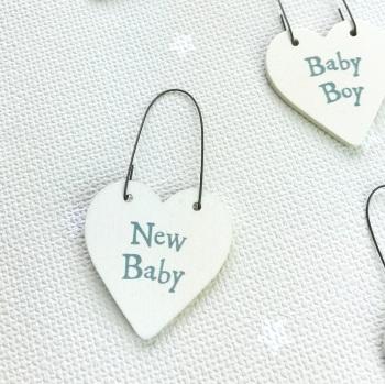 East of India - Teeny Tiny Wooden Heart - New Baby