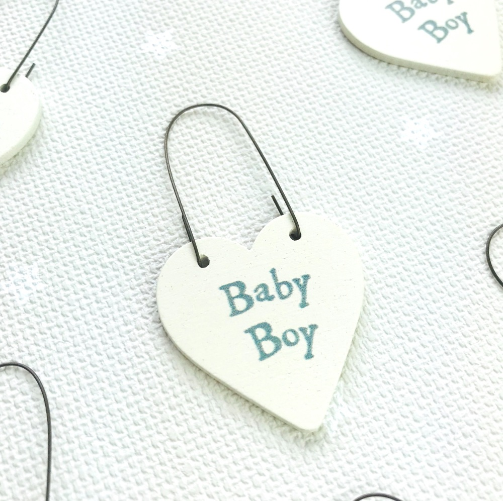 East of India - Teeny Tiny Wooden Heart - New Baby Boy