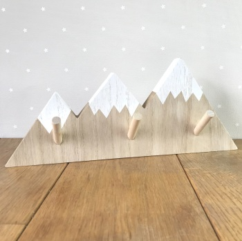 Wooden Pegboard - Natural Mountains