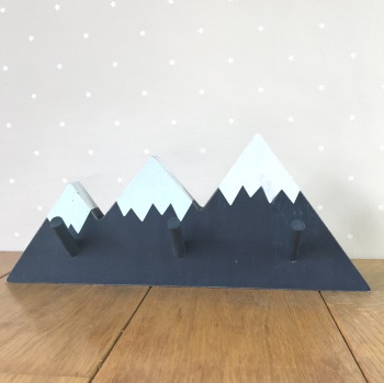 Wooden Pegboard - Navy Blue Mountains