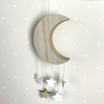 Wooden Hanging Moon and Stars