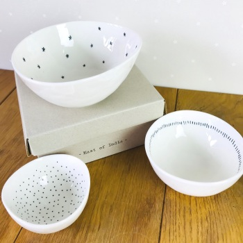 Set of 3 bowls-Stars, dashes & dots