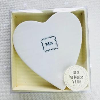 White Ceramic Coasters - Mr & Mrs